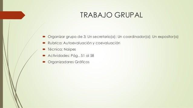 TRABAJO GRUPAL  Organizar grupo de 3; Un secretario(a); Un coordinador(a); Un expositor(a)  Rubrica: Autoevaluación y co...