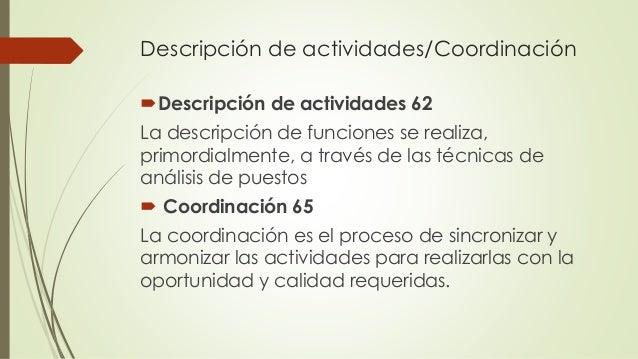 Descripción de actividades/Coordinación Descripción de actividades 62 La descripción de funciones se realiza, primordialm...