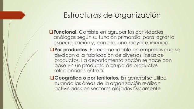 Estructuras de organización Funcional. Consiste en agrupar las actividades análogas según su función primordial para logr...