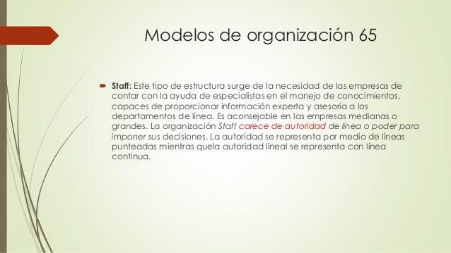Modelos de organización 65  Staff: Este tipo de estructura surge de la necesidad de las empresas de contar con la ayuda d...