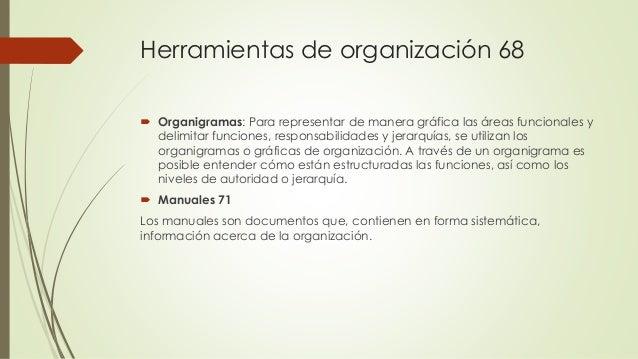Herramientas de organización 68  Organigramas: Para representar de manera gráfica las áreas funcionales y delimitar funci...