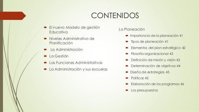 CONTENIDOS  El nuevo Modelo de gestión Educativa  Niveles Administrativo de Planificación  La Administración  La Gesti...