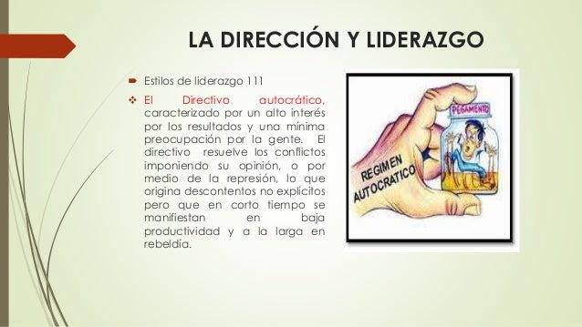 LA DIRECCIÓN Y LIDERAZGO  Estilos de liderazgo 111  El Directivo autocrático, caracterizado por un alto interés por los ...