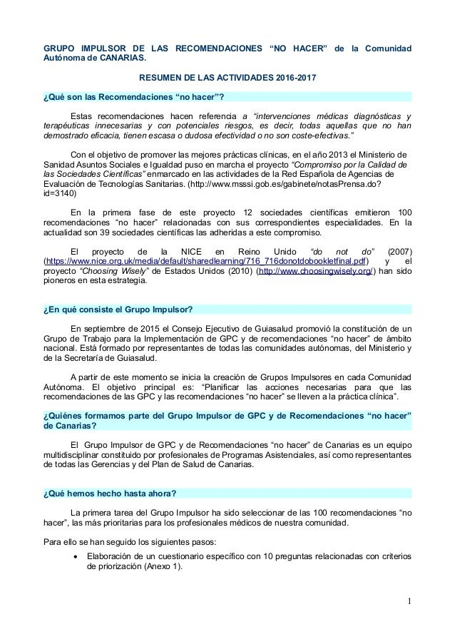 Grupo impulsor canarias. actividad 2016 2017. recomendaciones no hacer