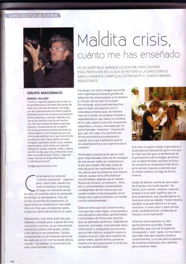 Grupo macomaco   artículo de opinión - revista tocado nº614 ''maldita crisis''