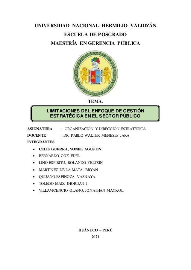 grupo n 03 limitaciones del enfoque de gestin estrategico en el sector pblico 1 638