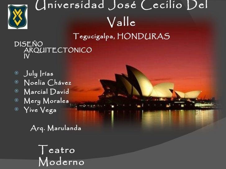 Universidad José Cecilio Del Valle Tegucigalpa, HONDURAS <ul><li>DISEÑO ARQUITECTONICO IV </li></ul><ul><li>July Irías  </...
