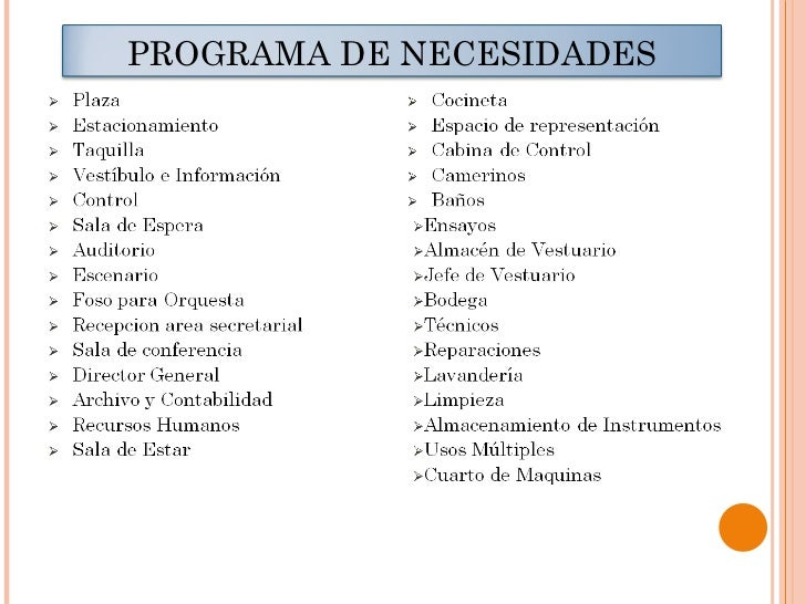 Teatro moderno grupo n 2 for Ejemplo de programa de necesidades arquitectura