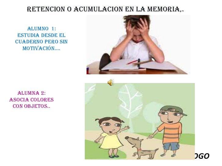 RETENCION O ACUMULACION EN LA MEMORIA,. <br />Alumno  1: <br />Estudia desde el cuaderno pero sin motivación….<br />Alumna...