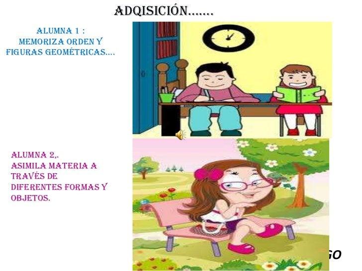 ADQISICIÓN…….<br />Alumna 1 :<br />Memoriza orden y figuras geométricas….<br />Alumna 2,. <br />Asimila materia a través d...