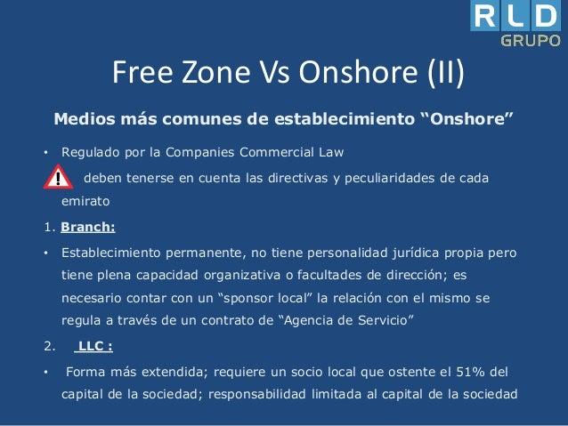 """Free Zone Vs Onshore (II) Medios más comunes de establecimiento """"Onshore"""" •  Regulado por la Companies Commercial Law debe..."""