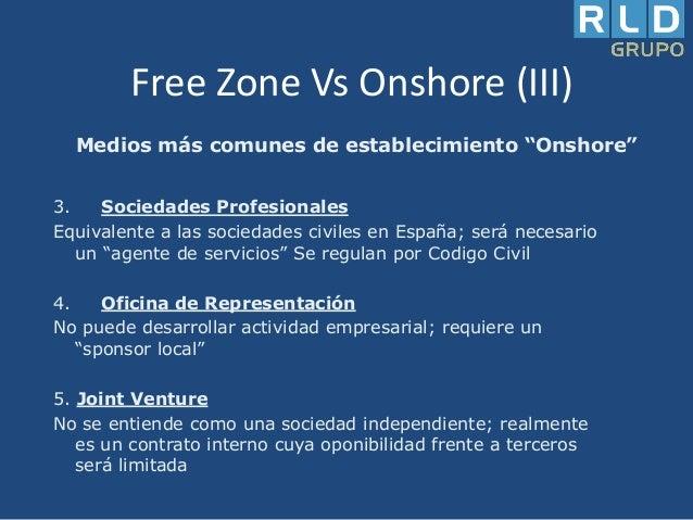 """Free Zone Vs Onshore (III) Medios más comunes de establecimiento """"Onshore"""" 3. Sociedades Profesionales Equivalente a las s..."""