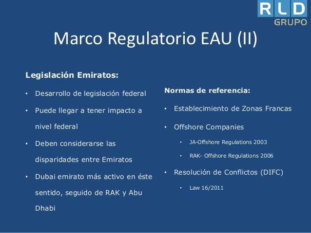 Marco Regulatorio EAU (II) Legislación Emiratos: •  Desarrollo de legislación federal  Normas de referencia:  •  Puede lle...