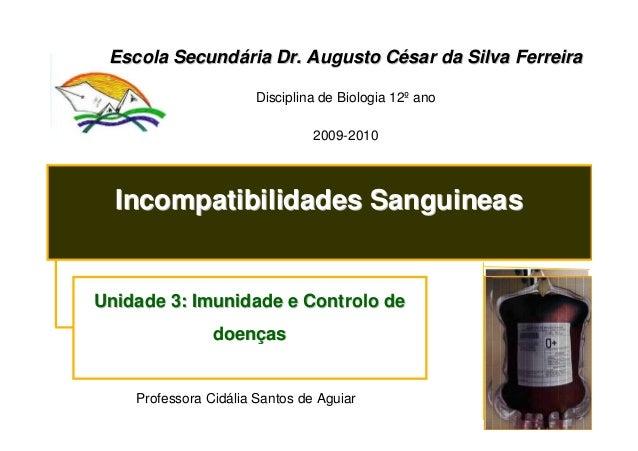 Escola Secundária Dr. Augusto César da Silva Ferreira Disciplina de Biologia 12º ano 2009-2010  Incompatibilidades Sanguin...
