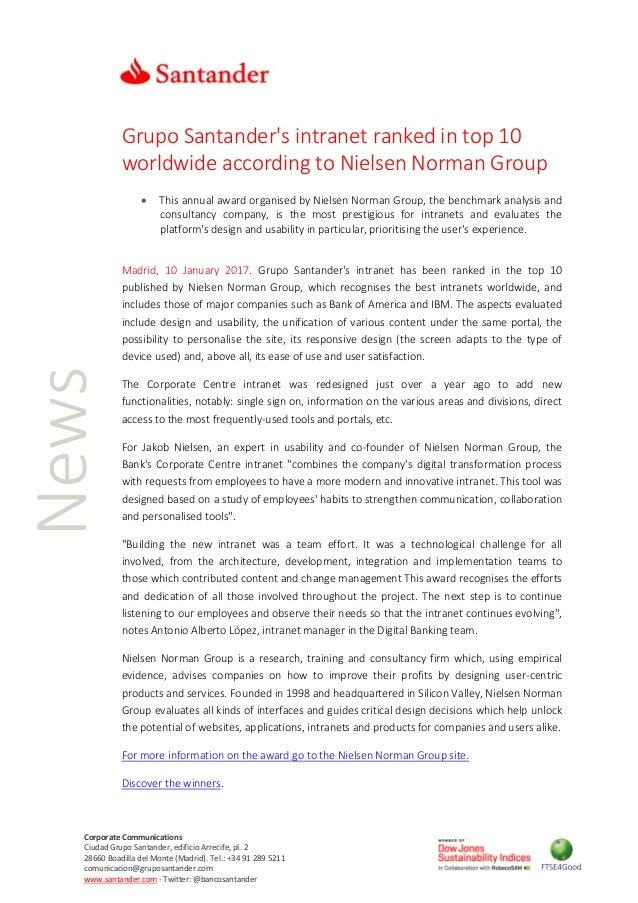 Grupo Santander's intranet ranked in top 10 worldwide according to Ni…