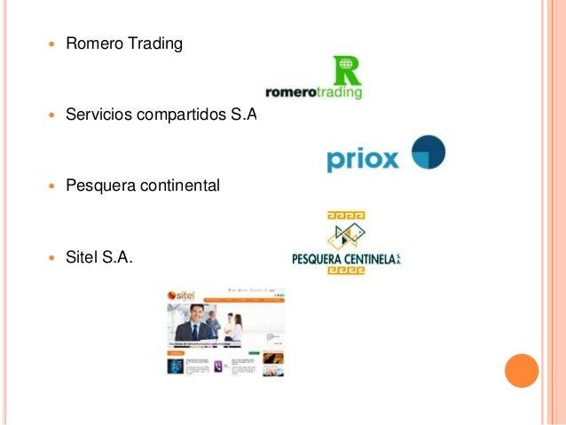  Romero Trading  Servicios compartidos S.A.  Pesquera continental  Sitel S.A.