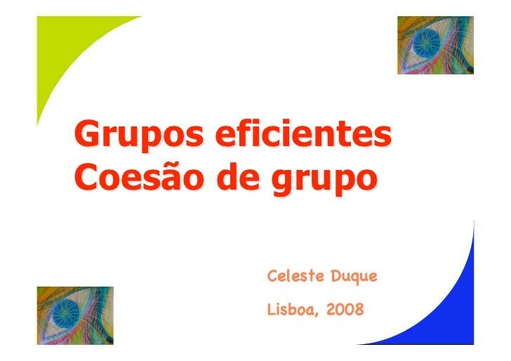 Grupos eficientes Coesão de grupo            Celeste Duque           Lisboa, 2008