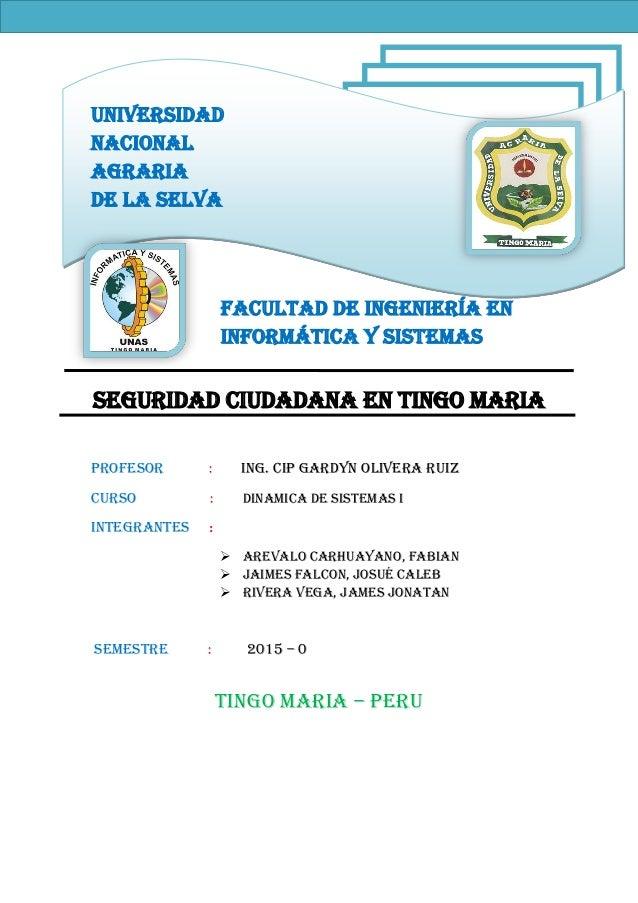 Universidad Nacional Agraria De La Selva Facultad de ingeniería en informática y sistemas SEGURIDAD CIUDADANA EN TINGO MAR...