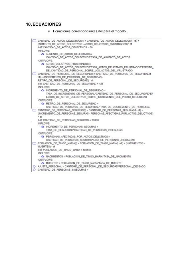 10.ECUACIONES  Ecuaciones correspondientes del para el modelo.