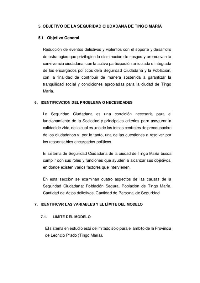 5. OBJETIVO DE LA SEGURIDAD CIUDADANA DE TINGO MARÍA 5.1 Objetivo General Reducción de eventos delictivos y violentos con ...