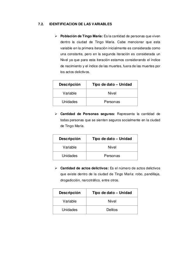 7.2. IDENTIFICACION DE LAS VARIABLES  Población de Tingo María: Es la cantidad de personas que viven dentro la ciudad de ...