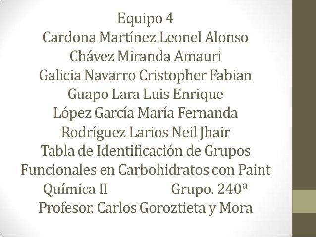 Presentacion De Los Grupos Funcionales: Grupos Funcionales En Carbohidratos (paint