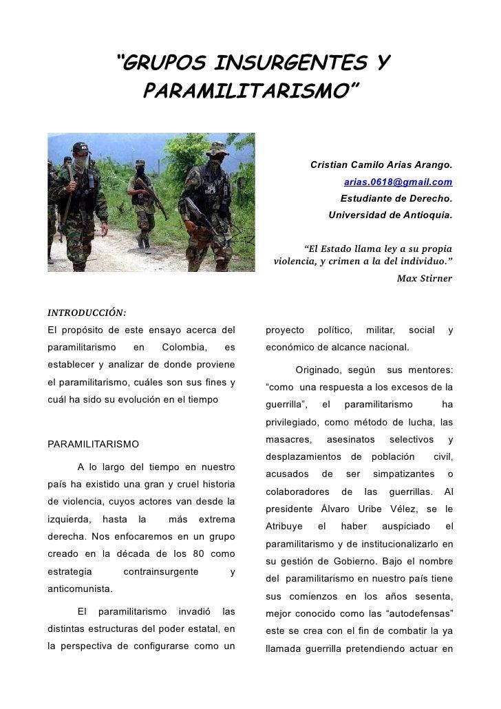 """GRUPOS INSURGENTES Y                    PARAMILITARISMO""                                                              Cri..."