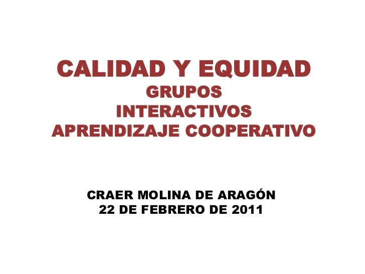 CALIDAD Y EQUIDAD        GRUPOS     INTERACTIVOSAPRENDIZAJE COOPERATIVO   CRAER MOLINA DE ARAGÓN    22 DE FEBRERO DE 2011