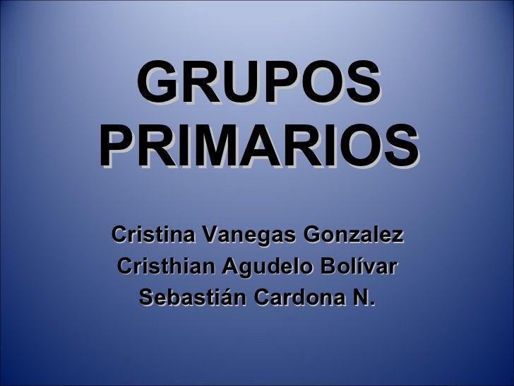GRUPOS PRIMARIOS Cristina Vanegas Gonzalez Cristhian Agudelo Bolívar Sebastián Cardona N.