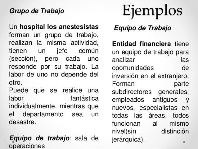 Grupo de Trabajo Ejemplos  Un hospital los anestesistas  forman un grupo de trabajo,  realizan la misma actividad,  tienen...