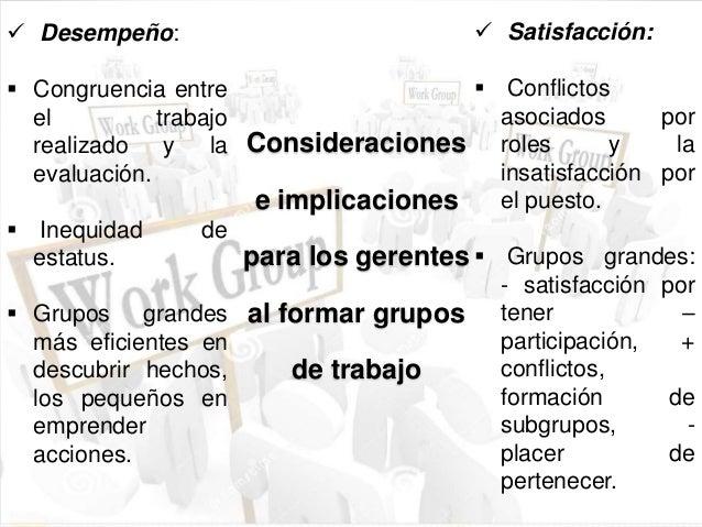 Consideraciones  e implicaciones  para los gerentes  al formar grupos  de trabajo   Desempeño:   Congruencia entre  el t...