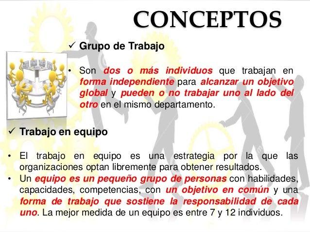 CONCEPTOS   Grupo de Trabajo  • Son dos o más individuos que trabajan en  forma independiente para alcanzar un objetivo  ...