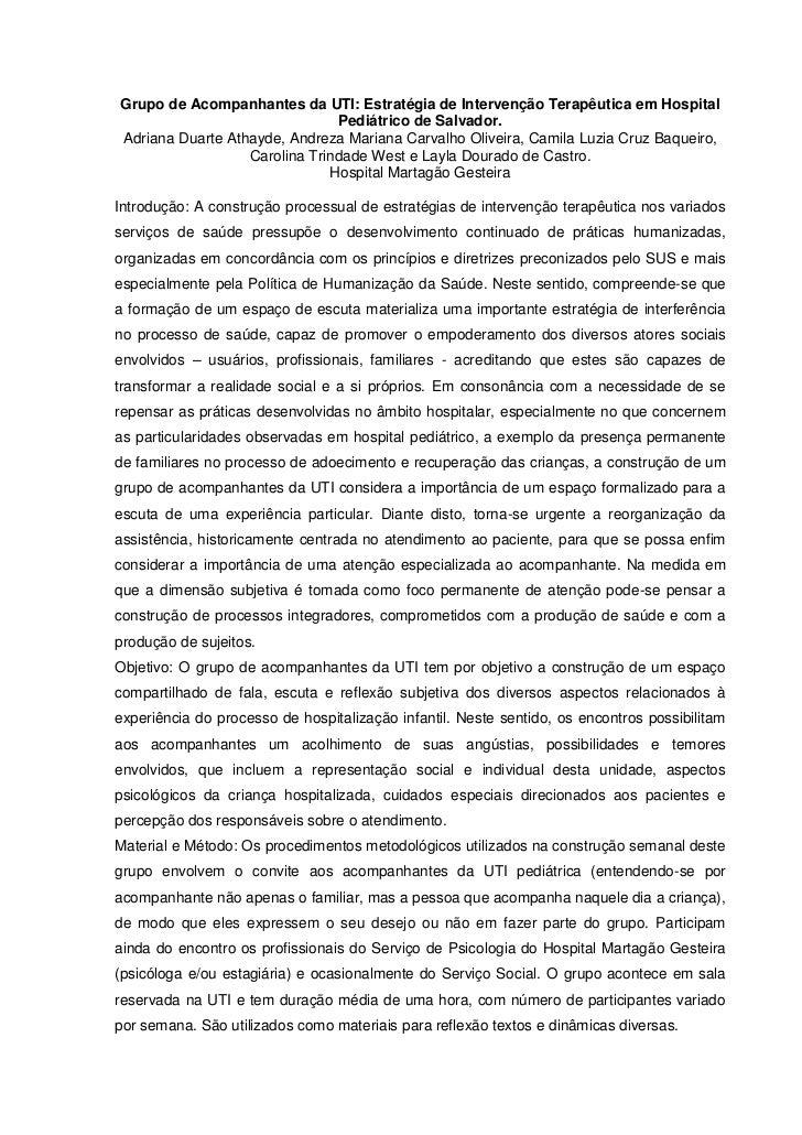 Grupo de Acompanhantes da UTI: Estratégia de Intervenção Terapêutica em Hospital                               Pediátrico ...
