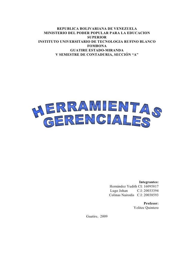 REPUBLICA BOLIVARIANA DE VENEZUELA    MINISTERIO DEL PODER POPULAR PARA LA EDUCACION                       SUPERIOR INSTIT...