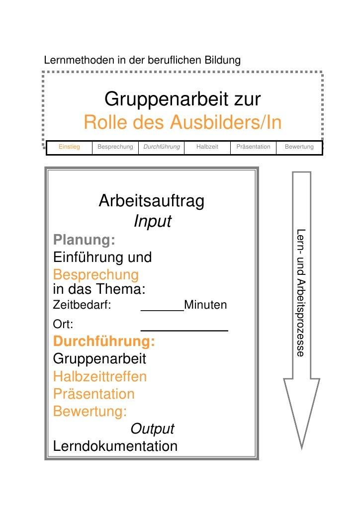 Lernmethoden in der beruflichen Bildung                  Gruppenarbeit zur              Rolle des Ausbilders/In   Einstieg...