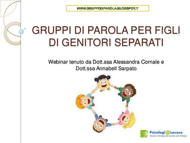 Eccezionale Gruppi di parola per figli di genitori separati GV66