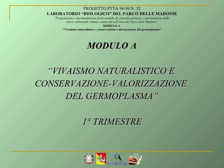 "<ul><li>MODULO A </li></ul><ul><li>"" VIVAISMO NATURALISTICO E  </li></ul><ul><li>CONSERVAZIONE-VALORIZZAZIONE  </li></ul><..."