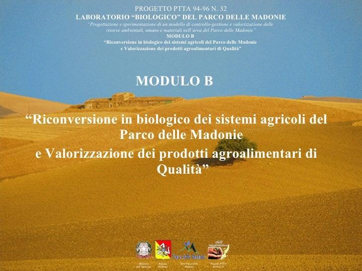 "<ul><li>MODULO B  </li></ul><ul><li>"" Riconversione in biologico dei sistemi agricoli del Parco delle Madonie  </li></ul><..."