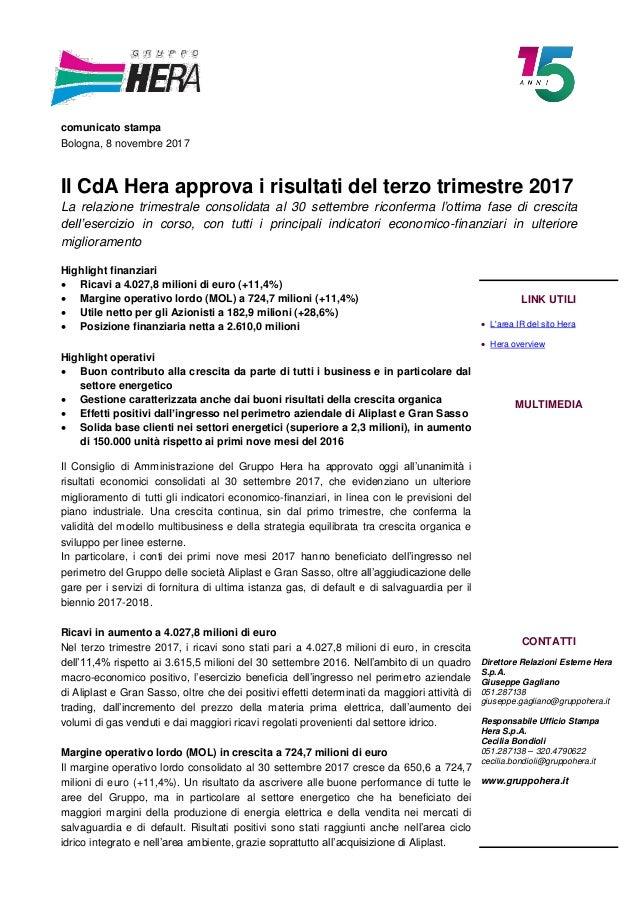 f6783a5e1f comunicato stampa Bologna, 8 novembre 2017 Il CdA Hera approva i risultati  del terzo trimestre ...