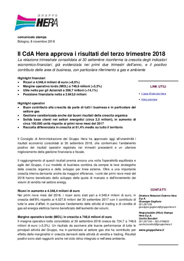 a518cd42b7 comunicato stampa Bologna, 8 novembre 2018 Il CdA Hera approva i risultati  del terzo trimestre ...