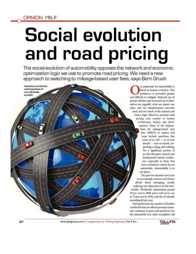OPINION MBUF     Social evolution and road pricing  The social evolution of automobility opposes the network and economic ...