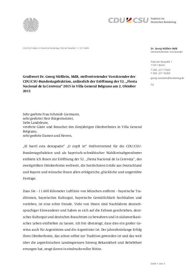 Seite 1 von 3 CDU/CSU-Fraktion im Deutschen Bundestag • Platz der Republik 1 • 11011 Berlin Grußwort Dr. Georg Nüßlein, Md...