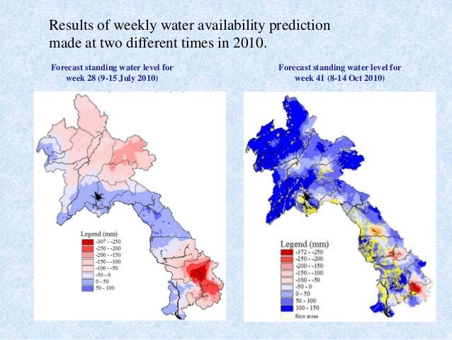 Results of weekly water availability predictionmade at two different times in 2010.Forecast standing water level forweek 2...