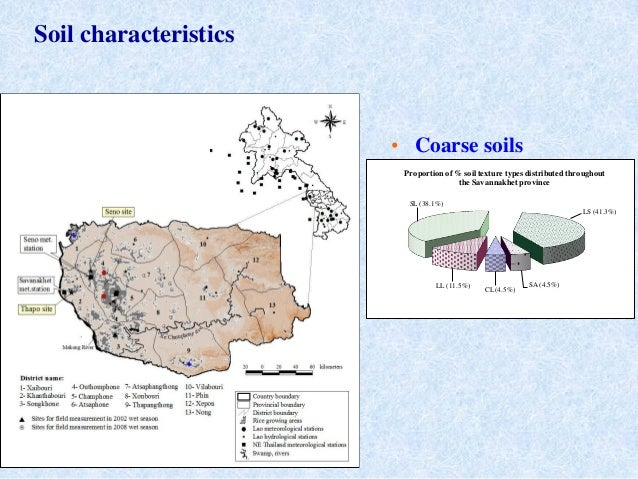 • Coarse soilsCL (4.5%)LL (11.5%)SL (38.1%)LS (41.3%)SA (4.5%)Proportion of % soil texture types distributed throughoutthe...