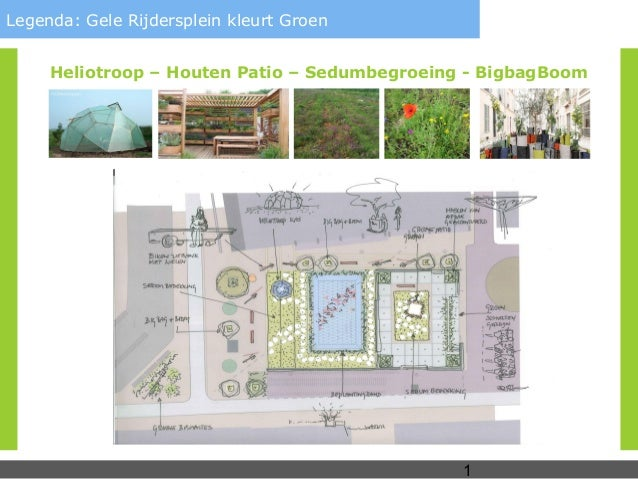 Legenda: Gele Rijdersplein kleurt Groen     Heliotroop – Houten Patio – Sedumbegroeing - BigbagBoom                       ...