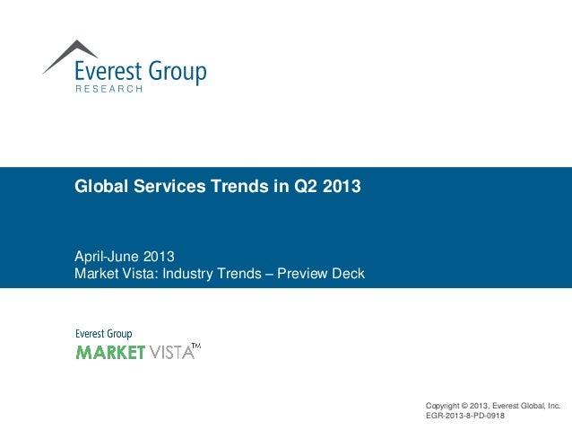 Global Services Trends in Q2 2013  April-June 2013 Market Vista: Industry Trends – Preview Deck  Copyright © 2013, Everest...