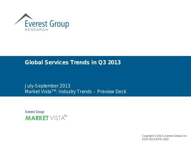 Copyright © 2013, Everest Global, Inc. EGR-2013-8-PD-1013 July-September 2013 Market VistaTM: Industry Trends – Preview De...