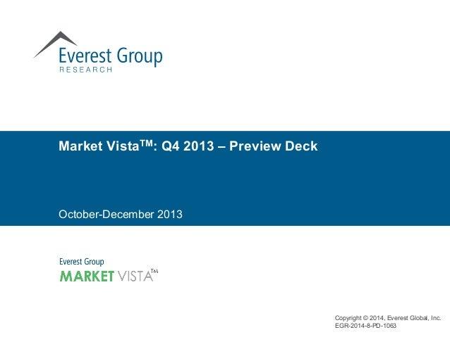 Copyright © 2014, Everest Global, Inc. EGR-2014-8-PD-1063 October-December 2013 Market VistaTM: Q4 2013 – Preview Deck