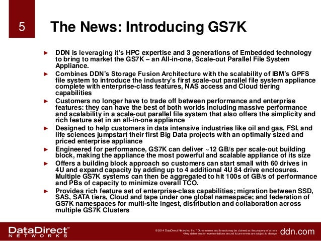 Ddn Gs7k Easy To Deploy High Performance Scale Out