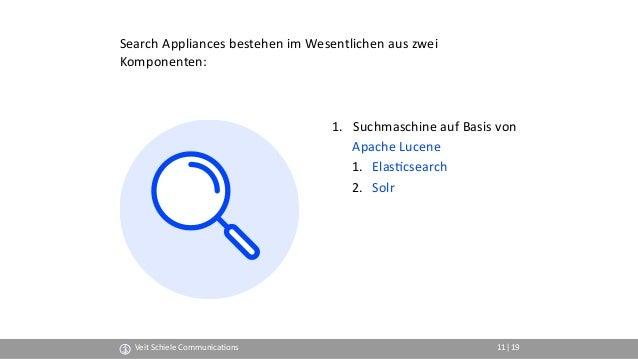 1. Suchmaschine auf Basis von Apache Lucene 1. Elas(csearch 2. Solr Search Appliances bestehen im Wesentlichen aus zwei Ko...